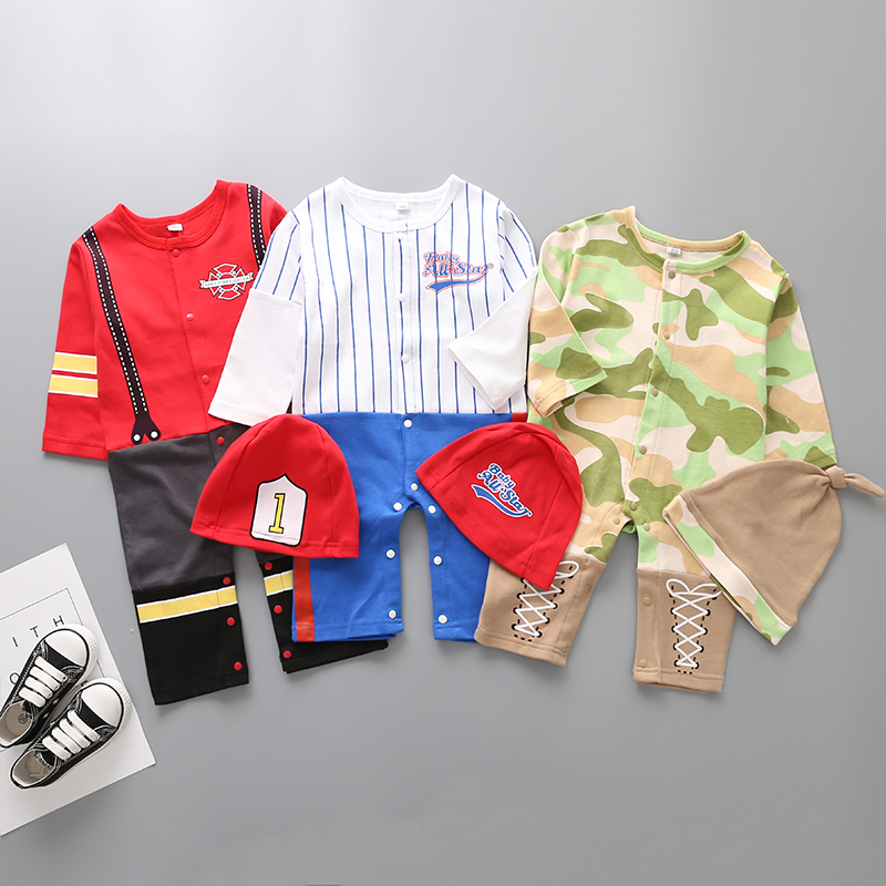 Baby Boys Clothes Full Sleeves Baseball Fireman Army Doctor Cosplay   Rompers  +Hat Outfits Infant Toddler Jumpsuit Clothing Costume
