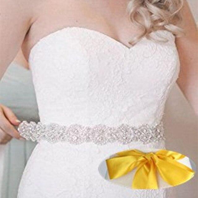 Gold Bridal Wedding Sash Rhinestone Dress Belt For Women