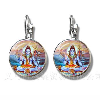 Classic India Earrings God Brahma,Vishnu, Lord Shiva Jewelry 16mm Glass Cabochon Silver Plated Stud Ear Religion Jewelry Gift image