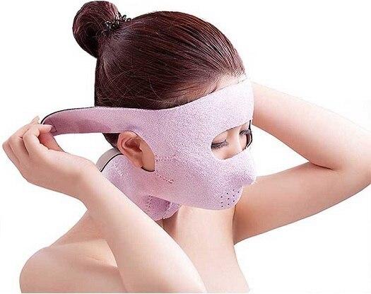 2018-ի նոր առողջապահական մոնիտորինգ. Japanապոնիա 3D Դեմքի մերսման դիմակ Ամբողջությամբ հանգստացնող դեմքի գոտիով բարձրացնող Chin նիհար այտով սաունա վիրակապ