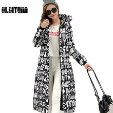 2017 New style high quality winter extra long down cotton jacket women's Thicken coatand jacket female outerwear Casual printing
