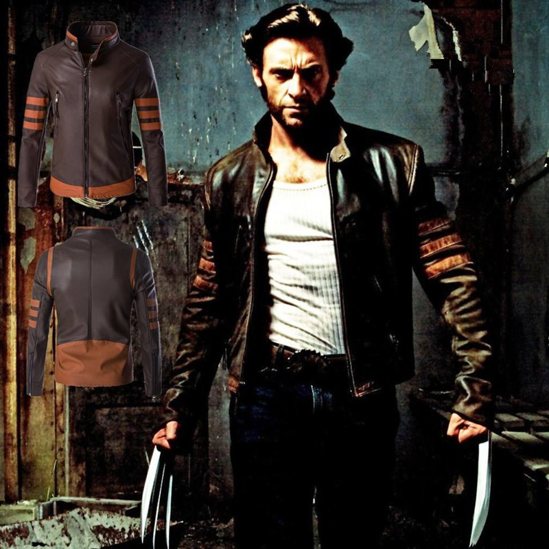 Mens Wolverine Leather Jackets Motorcycle Biker Top Coats Faux Leather Men Dropshipping Zipper Clothes Thick Fashion Coat