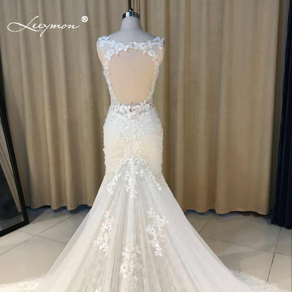 d844321420 ... Leeymon 2019 Custom Made Sexy Charming Applique Bridal Gowns Mermaid  Lace Wedding Dress Backless Trumpet Bridal ...