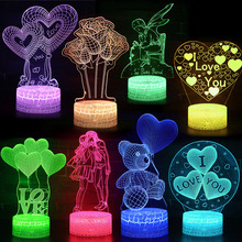 Valentine's Day Best Gifts Girl Love Heart Bear Lamp 3D Lights Remote Control Lamp Led Light Illusion Night Light i love you valentine s day remote control night light