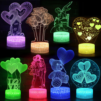 Valentine's Day Best Gifts Girl Love Heart Bear Lamp 3D Lights Remote Control Lamp Led Light Illusion Night Light wedding decor i love you heart 3d optical illusion mood light 7 colors change luminaria lava lamp kids night light novelty gifts