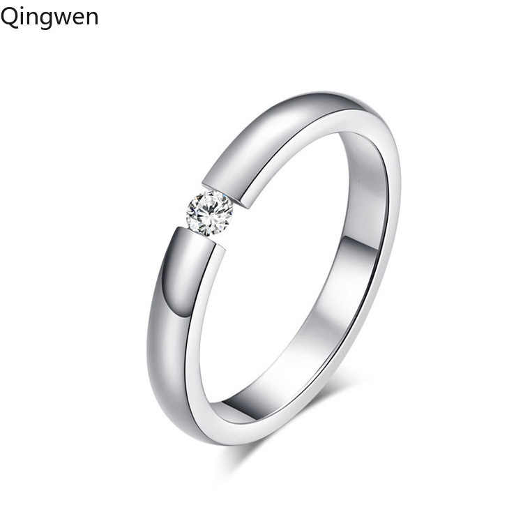 Qingwen fashion jewelry Engagement Ring for Women Stainless Steel Silver Gold Color Finger Girl Gift US Size6 7 8 9 10 CE0819/w