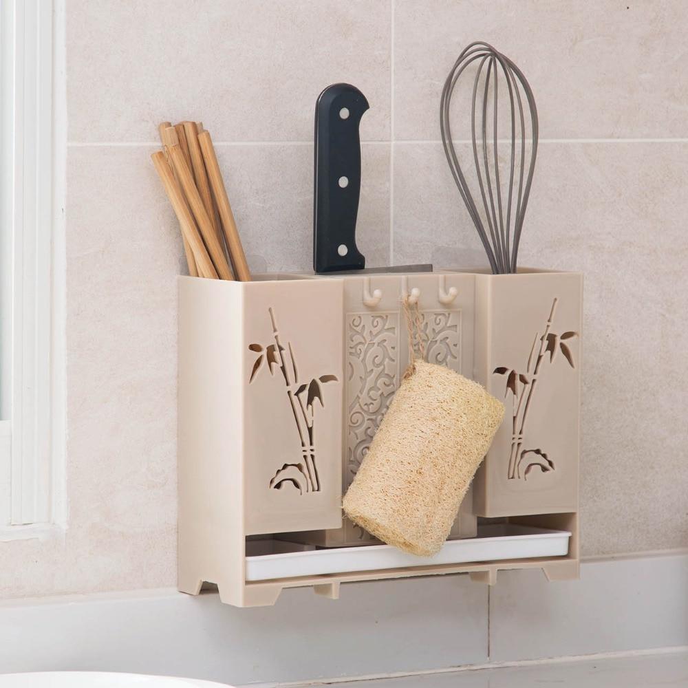 Wall Mounted Chopsticks Storage Rack Shelf Knife Holder Knife Block Cooker Tableware Holder Storage Box Case Container