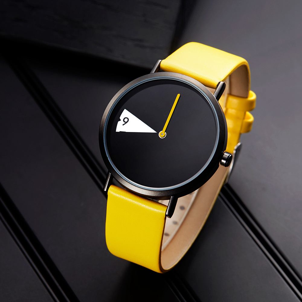 Sinobi Women Watch Creative Wristwatch Lady Clock Rotate Yellow Leather Band Wri