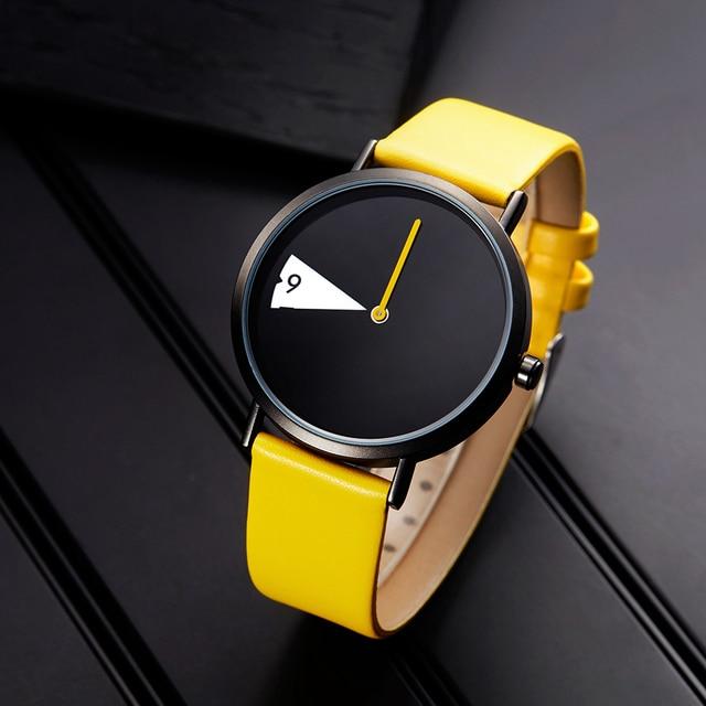 Sinobi Женские часы креативные наручные часы женские часы поворот желтый кожаный ремешок наручные часы Montres Femme Reloj Mujer