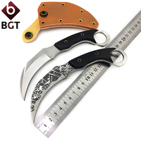 BGT Karambit Fixed Knife CS GO Tactical Camping Combat Survival Pocket Claw Knives EDC Fighting Hunting
