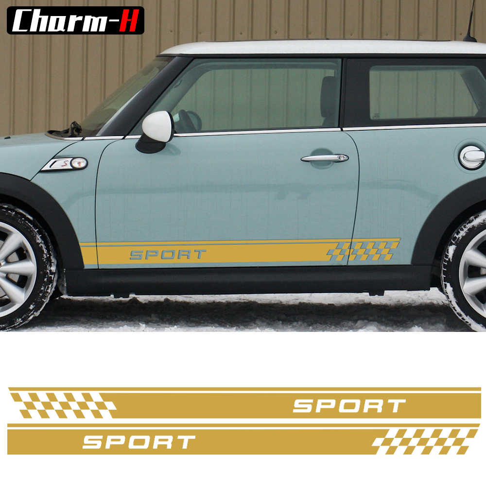 Door Side Decal Stripes Stickers Sport Checker Flag Graphi for MINI Cooper One S Countryman R60 Paceman R61 F55 F56 R56 R50 R53 aliauto car styling side door sticker and decals accessories for mini cooper countryman r50 r52 r53 r58 r56