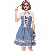 Deluxe Quality Womens Lolita Costume Cartoon Anime Suit Maid Cosplay Pack Small Dress Campus Uniform