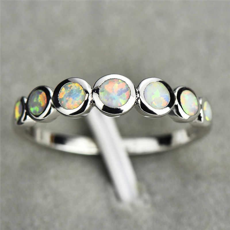 เครื่องประดับ Minimalist หญิงซ้อนสีขาวสีน้ำเงิน Fire Opal แหวนเงินแท้ 925 รอบงานแต่งงานแหวนของขวัญ