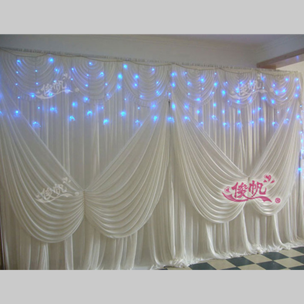 White Butterfly Wedding Backdrop Curtain Swag Ice Silk Stage Backdrop  Curtain Drape Pleated Wedding Decoration 10ft
