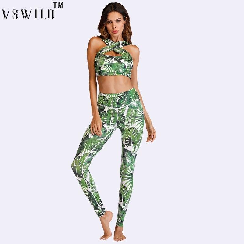 Women Set Yoga Suits Print Cross Top Vsst Fitness Leggings Pants Legging Workout Legging Bodybuiling Clothes Running Sportswear