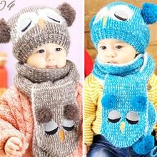 Cute Owl Unisex Baby Boys Girls Knit Hats Scarfs Sets Kids Knitted Beanie Crochet Caps Baby Toddler Head Wear 2pcs