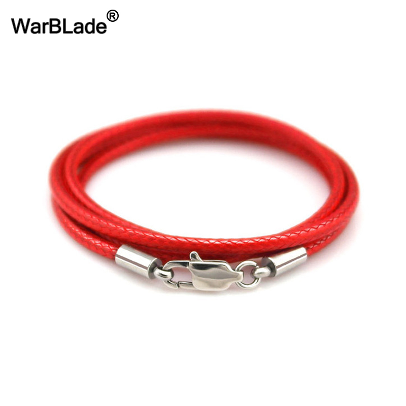 40-80cm 1-3mm Leather Necklace Cord Waxed Rope Leather Cord Stainless Steel Lobster Clasp Connector Chain Men Women DIY Jewelry