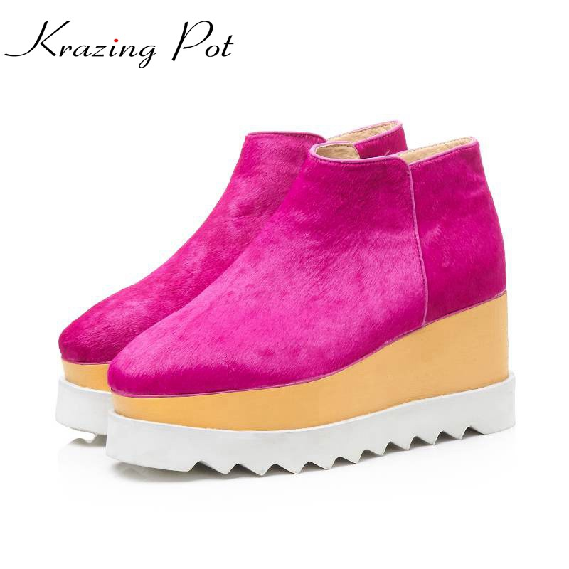 Krazing pot 2018 horsehair zipper keep warm young girl solid color long leg wedges plus size leisure fashion winter boots L00 krazing pot flannel stretch boots winter keep warm wedges high heels leisure long legs beauty fashion over the knee boots l31