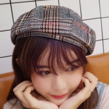 Winter Beret Hats Women Wool Vintage Plaid Hat Girls Thicken Cake Cap Buds Octagonal cap
