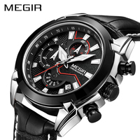 MEGIR Chronograph Sport Watch Men Luxury Creative Quartz Wrist Watches Clock Men Relogio Masculino 2065 Army