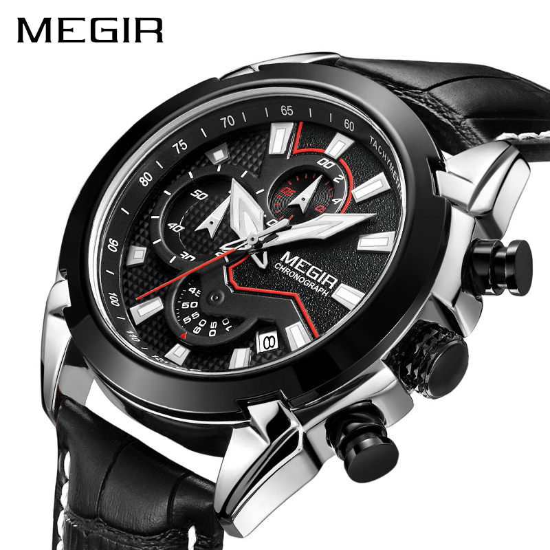 MEGIR Chronograph Sport Watch Men Luxury Creative Quartz Wrist Watches Clock Men Relogio Masculino 2065 Army Military Wristwatch megir mens chronograph 6 hands 24 hours function sport wrist watches luxury silicone military quartz watch man relogio masculino