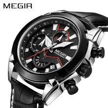 MEGIR הכרונוגרף ספורט שעון גברים יוקרה Creative קוורץ יד שעונים שעון גברים Relogio Masculino 2065 צבא צבאי שעוני יד