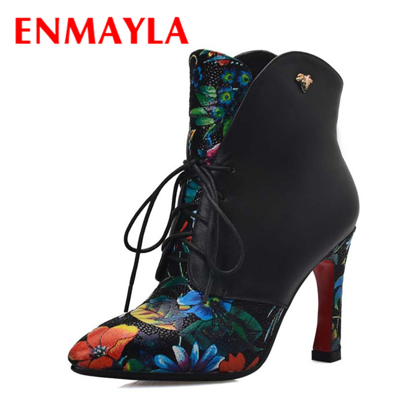 ФОТО ENMAYLA Print Ankle Boots Women Pointed Toe Square High Heels Boots Genuine Leather Womens Pumps Lace-up Shoes Woman Black Red