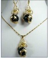 Gratis Verzending mooie gouden plaat draak zwarte steen hanger ketting Oorbellen setAA8