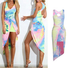 2017 Women Sexy Tie Dye Gradient Backless Summer Boho font b Long b font Evening Party