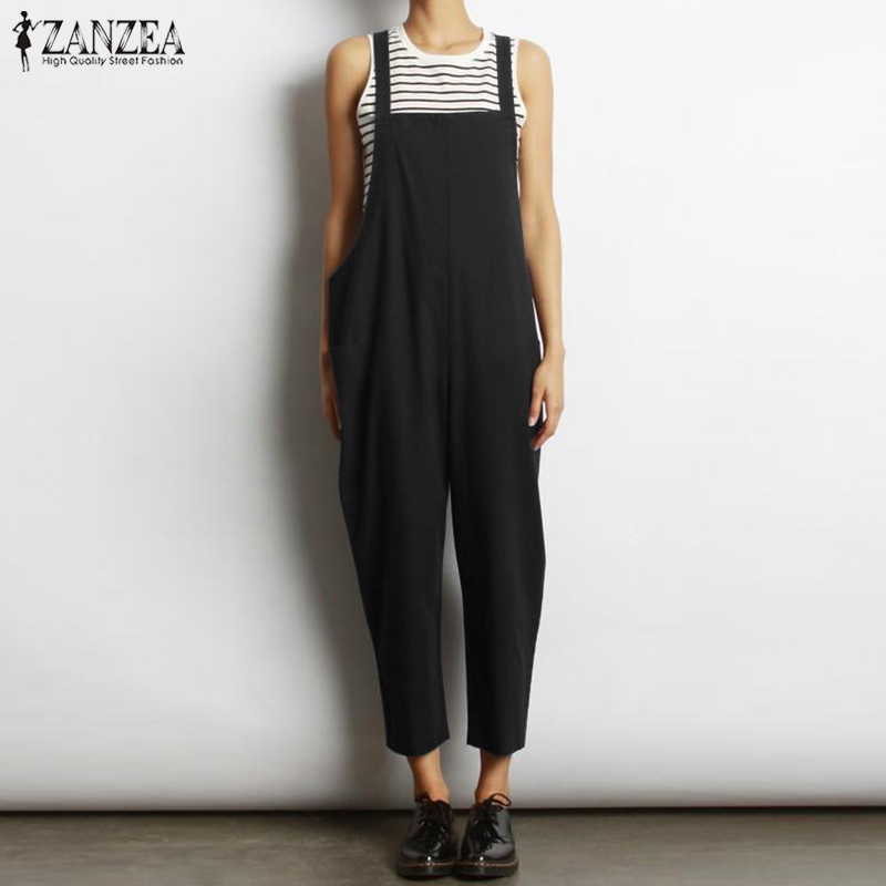 2019 Summer ZANZEA Women Solid Long   Jumpsuit   Strappy Sleeveless Loose Casual Cotton Linen Bib Overalls Party Rompers Oversized