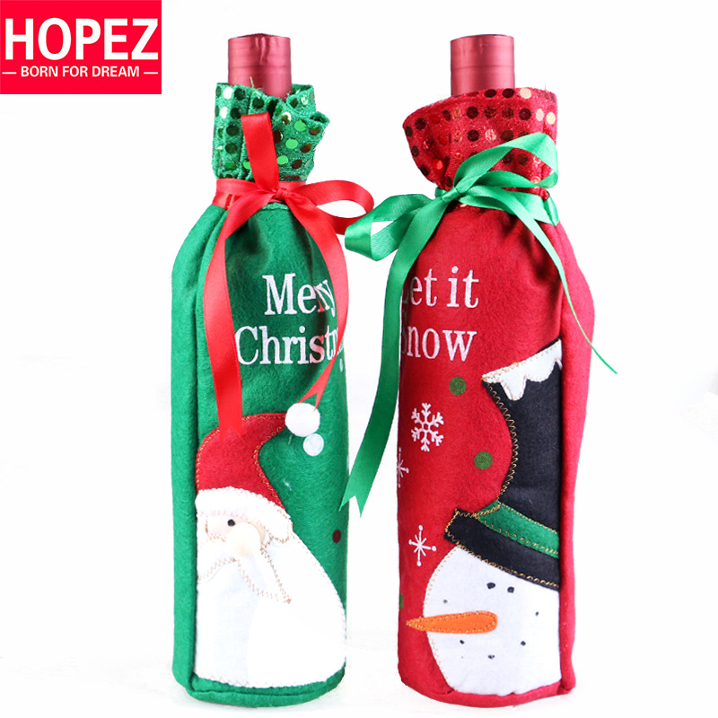 2016 Hot Christmas Santa Claus Wine Bottle Bag Non Woven