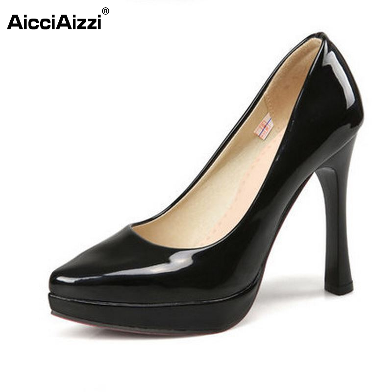 women high heel shoes platform sexy spring point toe concise brand footwear fashion heels dress pumps shoes size 34-43 P23299 dropshipping best selling genuine leather super high heel 12cm platform 3 cm evening shoes sexy point toe high heels r243