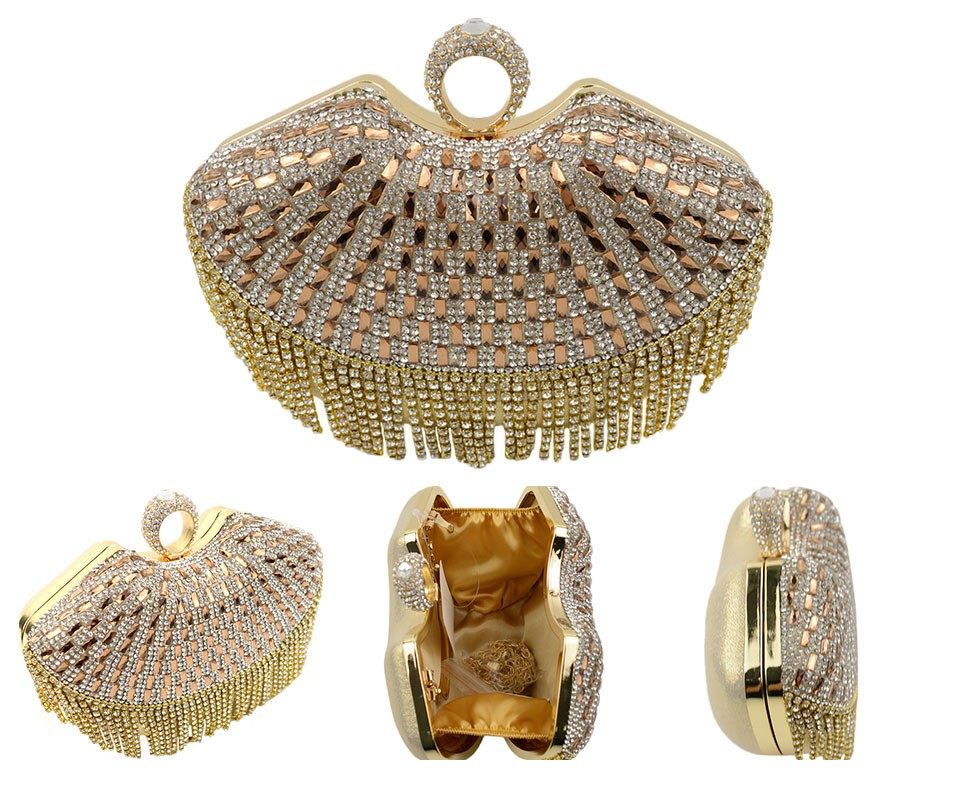 05bc3fbcf19c Tassel Crystal Women Evening Bag Day Clutch Handbags Hard Case Beaded  Lady's Box Bags Small Purse Shoulder Bags-in Evening Bags from Luggage &  Bags on ...