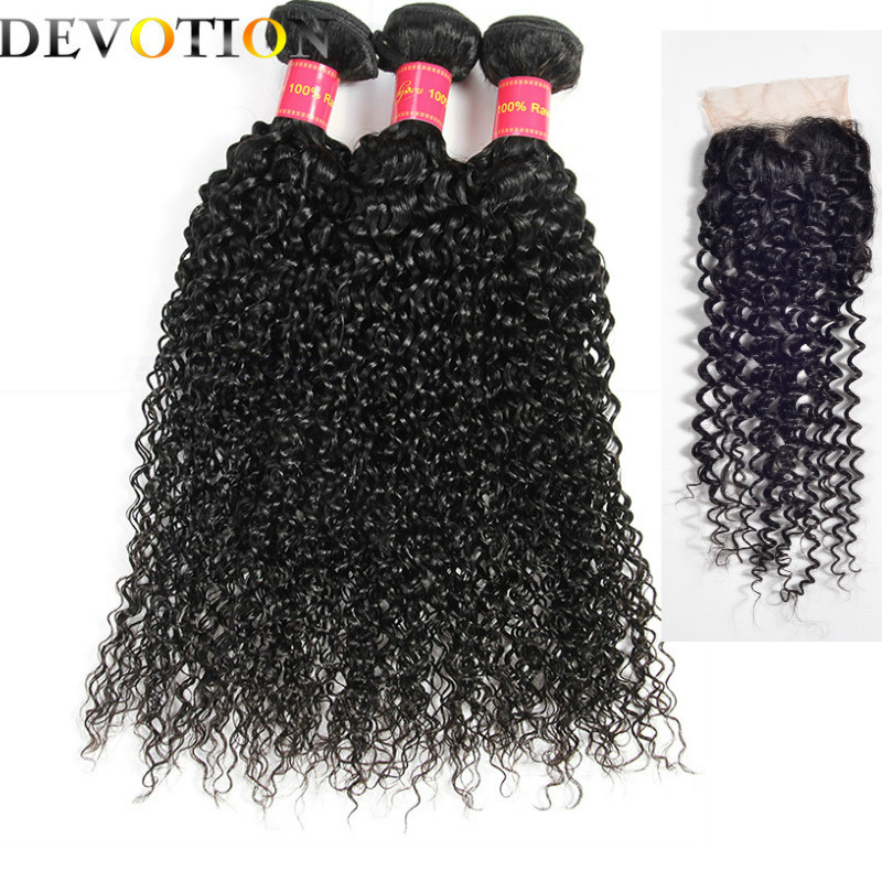 Devotion Hair Brazilian Kinky Curly Bundles With Closure Brazilian Hair Weave Bundles With Closure Non Remy Human Hair Bundles