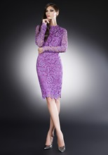 Neue lilac knielangen spitze cocktailkleider 2016 geöffnete zurück vollständige sleeve dress party elegante abendkleider silvester kleider mode