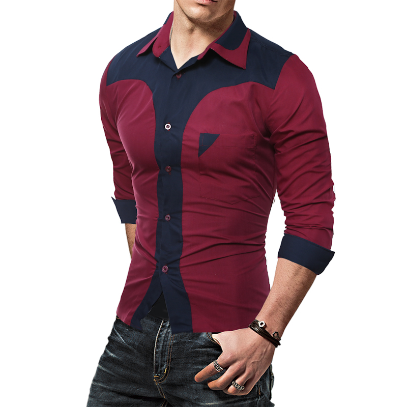 2017 new fashion casual men shirt long sleeve for Latest shirts for mens 2017