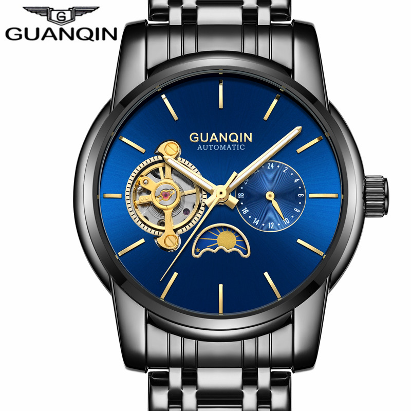 GUANQIN Luxury Watch Men Moon Phase Waterproof Luminous Watch Automatic Stainless Steel Tourbillon Mechanical Wristwatches Gifts golden silver transparent hollow dial quartz men wrist watch stainless steel band casual sport watches man analog male clock gif