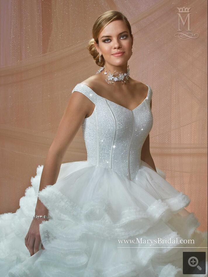 New arrival ball gown cap sleeve heavily beading tiered wedding ...
