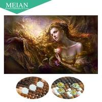 Meian Special Shaped Diamond Embroidery Beauty Lady 5D Diamond Painting Cross Stitch 3D Diamond Mosaic Decoration