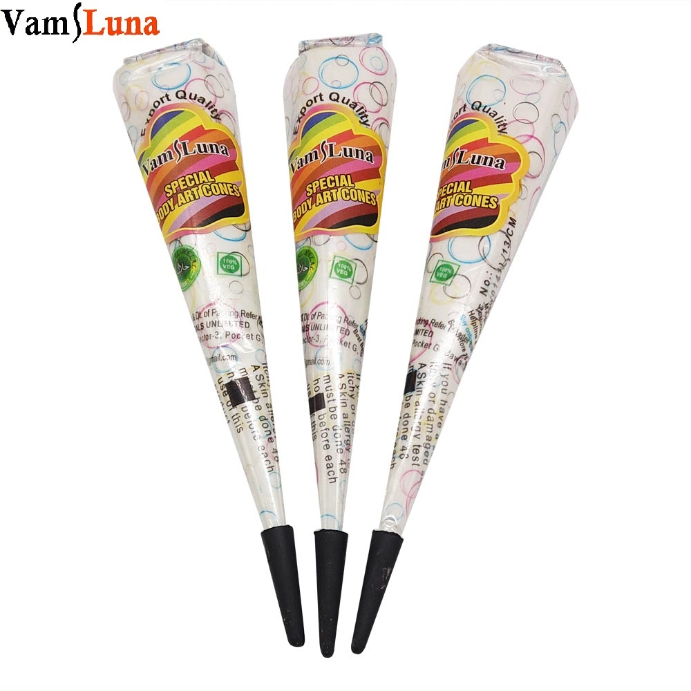VamsLuna 3X White Henna Cone Temporary Painless Indian Tattoo Ink Body Art para decoración nupcial y boda