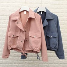 5 Colors Spring Autumn New Women Jacket Loose Pocket Casual Cropped Tops Solid Coat fashion Female Outerwear