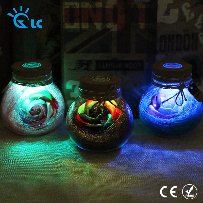 New Led Romantic Bulb Rgb Dimmer Lamp Rose Flower Bottle Light With Remote Control Night Light For Mom Lady Girl Birthday Gift Lights & Lighting
