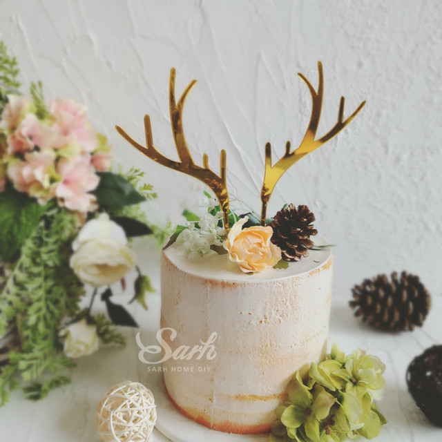 Gold Acrylic Elk Antler Pine Cone Cake Topper Dessert Decoration for Wedding Birthday Party Gifts