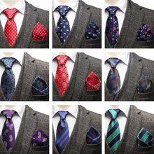 YISHLINE шеи галстук и платок Набор мультфильм плед полосатый цветочный жаккардовые галстуки Карманный квадратный для мужчин Свадебный Жених красный