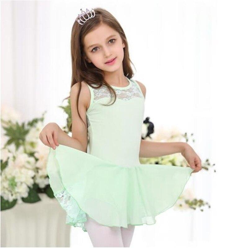 Nuevos niños niñas gimnasia vestido de baile ballet falda tutú leotardo encaje diseño bailarina vestidos para niños niña ropa de baile suave