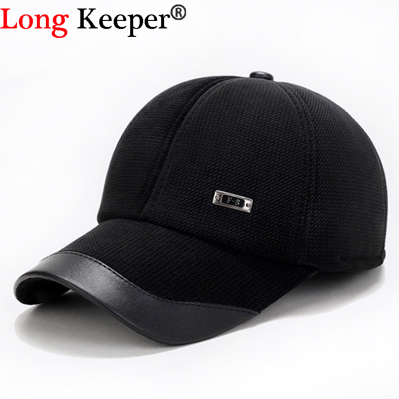 Long Keeper High quality Mens Winter Warm Cotton Dad Hat Baseball Caps With Ear Flaps Adjustable Snapback Hats For Men casquette mens winter leather cap warm patchwork dad hat baseball caps with ear flaps russia adjustable snapback hats for men casquette