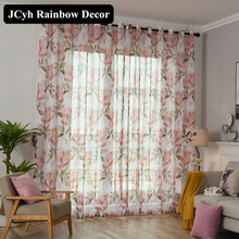 Modern Floral Tulle Curtains for Living room Bedroom Voile Sheer curtain Window for curtains Treatments Blinds Home Decorative pastoral daisy door screen voile window sheer curtain blinds drape bedroom curtains backdrop christmas decorations for home wall