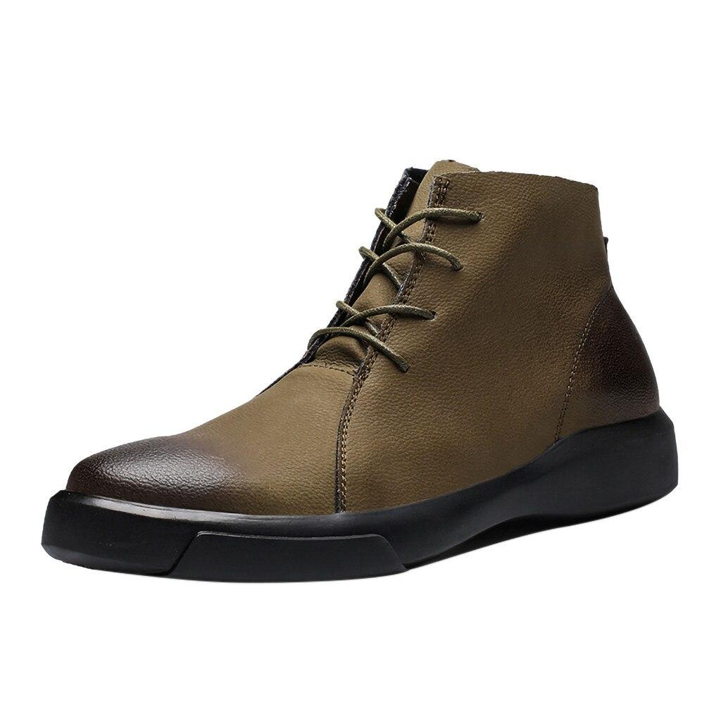 f8378d673b6c65 up Chaussures Hommes Européenne khaki Femme Ronde Talons À Tête Dentelle  Bas Bottes Courtes Noir Outillage Rétro Cheville ...