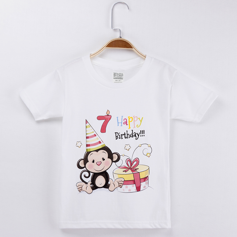 2019 Kawaii Monkey T Shirt Birthday Clothes For Boys 100 Cotton Kids Cartoon Clothing Set Baby Girl Tops Children Shirts Brand in T Shirts from Mother Kids