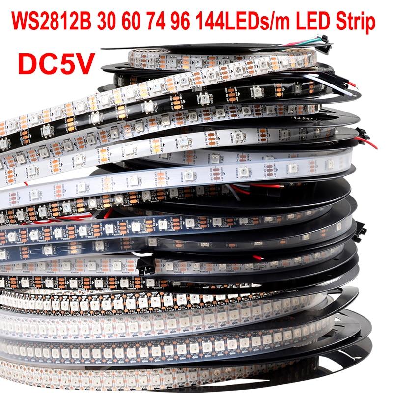 5V WS2812B Digital SMD 5050 30 60 74 96 100 144 LEDs RGB LED Strip WS2812 WS2811 Pixel Tape Light TV Arduino Ambilight Backlight